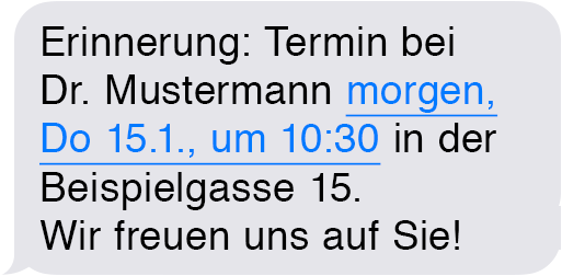 Terminerinnerung per SMS Text